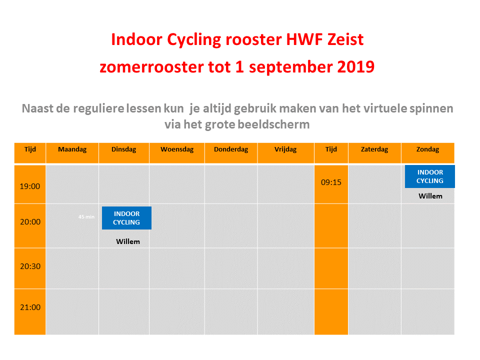 Spinningrooster Health Works Fitness Zeist, versie zomer tot 1 september  2019